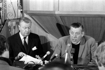 B5344R Northern Ireland Sept. 1969. Reverend Ian Paisley seen here with his wife and Dr Carl McIntyre. They were speaking at the Intern